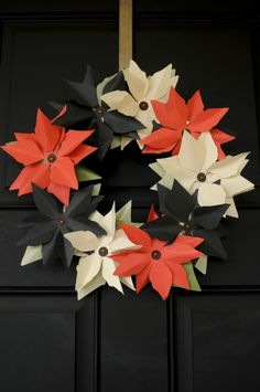 DIY: paper Poinsettia wreath