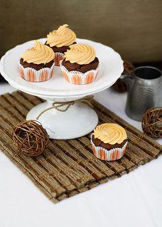 Chocolate Pumpkin Cupcakes with Orange Pumpkin Cream Cheese Frosting