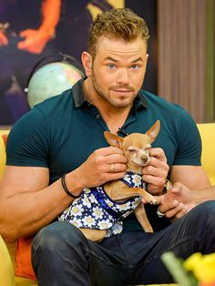 Ah, that's the spot! Kellan Lutz gives a nice scratch to a lucky pup on the set of Despierta América at Univision Headquarters in Miami on Wednesday.