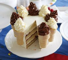 """Ice Cream Cone Cake...delightful twist on the soft serve cone...cake baked in the cone, cut in half, """"glued"""" on the cake w/ frosting..."""