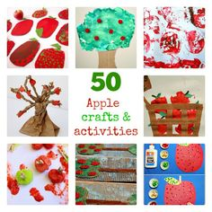 A big collection of apple themed crafts, art projects and other activities for kids all ages- split into 3 categories based on skill level. #apples #fall #applecrafts