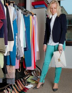 Lorraine shows us how to work pastel pants in the office at http://www.elleuk.com/