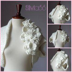 Crochet bridal wedding shrug