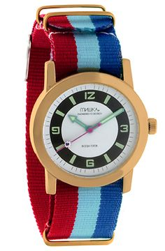 usually I'm not much of a watch person... but here's an exception! The Standard Issue Stripe Watch by Mishka: $70  #Watch #Mishka LOVE