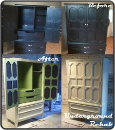 Most recent project by Underground Rehab - Armoire painted with Milk Paint by Olympic.  Inside painted with Apple Green by Eddie Bauer.  Door detail painted with chalkboard paint.  Client is using it as a standing desk.