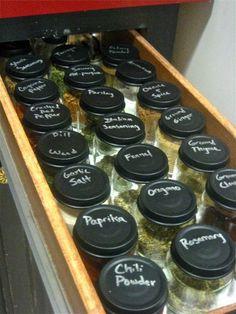 [ Idea: Herb (and Spice) Rack Solutions ] Chalkboard Paint on Jar lids. spice organization, kitchen organization, baby food jars, spice rack, spice jars, baby jars, chalkboard paint, baby foods, spice storage