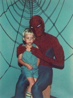 that awkward moment when you sit on spiderman's lap.