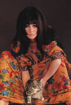 cher with big hair and kitty. 70s fashion. 70's, 70s, fashion, style, trend, 70s era, street style, boho, hippie, bohemian, inspiration, 1970s