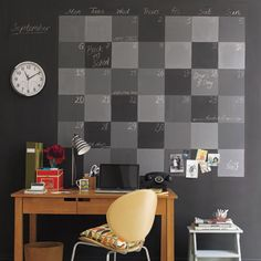 Different shades of chalkboard paint to create a giant wall calendar! Such a cool idea!