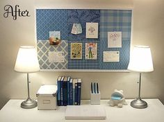 Salvaged bulletin board=patchwork bulletin board. Great to pin homework notes to!