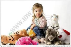 With all her stuffed animals!