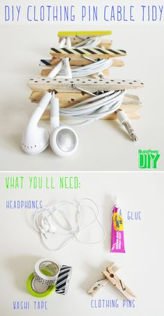 DIY Clothing Pin Cable Tidy with Washi Tape