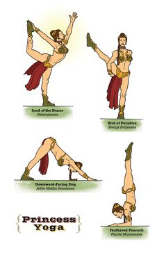 """Just for fun... Princess Yoga The """"Star Wars"""" Guide To Yoga. Diagrams by Rob Osborne."""