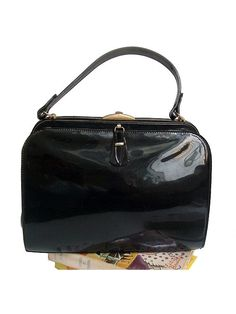 1960 french black patent HANDBAG by lesclodettes on Etsy, $55.00
