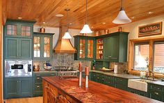Another beauty, seriously need a new kitchen! cabinet painting, painted kitchens, kitchen cabinet colors, green kitchen, wood ceilings, painted cabinets, log, painting kitchen cabinets, painted kitchen cabinets
