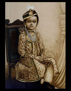 Rajput, Young Master, miniature painting, Indian