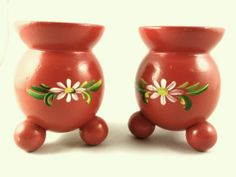 Pair of Swedish Red Wood Barrel Hand Painted Christmas Candle Holders
