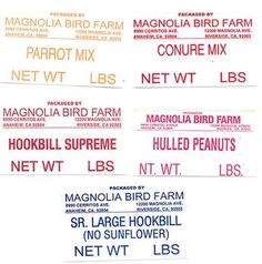 November 2012:   Magnolia Bird Farm of Anaheim, CA, is recalling Raw and Roasted In-shell Peanuts and Magnolia Bird Farm Bird seed mixes that contain peanuts, because they have the potential to be contaminated with Salmonella.