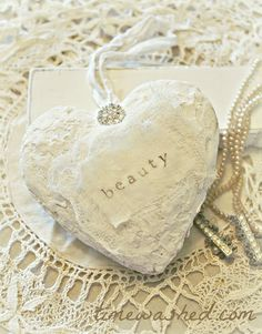 Plaster Heart #DIY # craft #howto #crafts #Christmas #tree #ornament #ornaments #Valentine #ValentinesDay #decor #decoration #gift #gifts #shabby #shabbychic