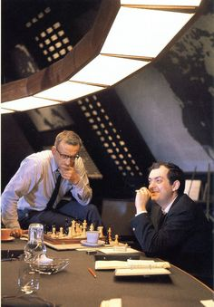 George C. Scott and Stanley Kubrick on the set of 'Dr. Strangelove', 1964