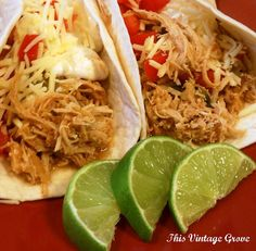 If you love cilantro and lime . . . Cilantro Lime Chicken Tacos (crockpot style) - 1 lb. boneless skinless chicken breasts, juice from 2 limes, 1/2 cup of cilantro, 1 packet of taco seasoning, 1 teas. dried onions, 1/2 cup of water. Put all ingredients into crock-pot. Cook on low all day, or set crock-pot to high and cook for four(ish) hours. Shred, stir well. Spoon into soft taco tortillas.