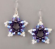 Crystal Star Earrings. Good diagram but can translate. #Seed #Bead #Tutorials
