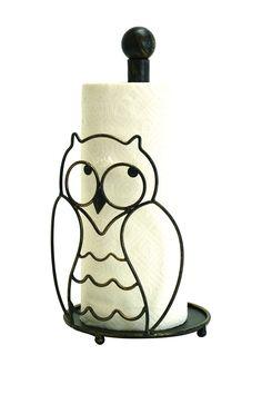 Cute owl paper towel holder.