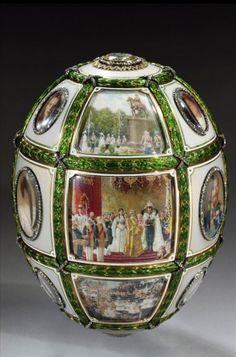 "Fabergé, ""Coronation Egg."" Commissioned by Tzar Nicholas II as a gift to the Tsaritsa, Empress Alexandra Fyodorovna."