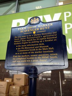 If you visit PA Farm Show this week, you can take part in the historical marker scavenger hunt. Or you can play along at home - http://phmc.info/13euZtR