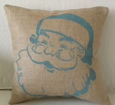 burlap retro aqua Christmas Santa stuffed pillow