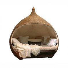 Amazing Beds with Unusual Theme of Bedroom: Onion Shape Bed Frame Natural Color Cushions Unique Amazing Beds ~ dickoatts.com Bedroom Designs Inspiration