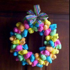 craft, holiday fun, easter decor, holidays, hoppi easter, peep wreath, wreaths