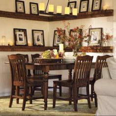 """Small dining room? """"furnish"""" your walls.. Big on impact, small on footprint. Cool idea courtesy of Potterybarn."""