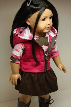 American Girl Doll Clothes-Quilted Hoodie Vest, Skirt and Top. $28.00, via Etsy.