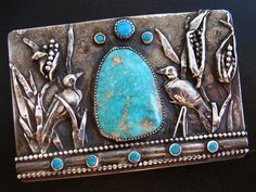 Sterling Buckle of Crows in a Corn Field w/ King's Manassa Turquoise