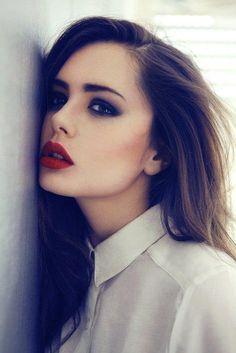 button-down. scarlet lips.