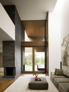 architect, modern fireplaces, dream living rooms, brick, ai weiwei, upstate new york, high ceilings, hous, clean lines