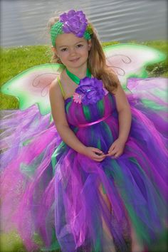 Woodland Fairy Tutu Dress with large wings by whererainbowsend1