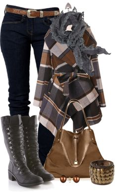 """Plaid Coat"" by johnna-cameron on Polyvore"