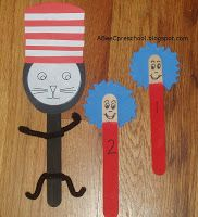 Dr Seuss.  Make puppets with large craft sticks and fun foam for Thing 1 and 2, and the Cat in the Hat.