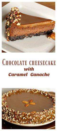"""Chocolate Cheesecake with Caramel Ganache Recipe from <a href=""""http://MissintheKitchen.com"""" rel=""""nofollow"""" target=""""_blank"""">MissintheKitchen.com</a>"""