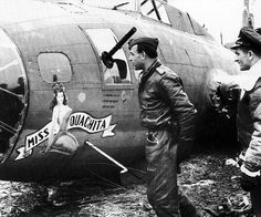 B-17 Flying Fortress - Miss Quachita inspected by the man who shot her down; Heinz Bär ~