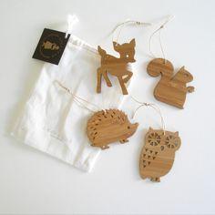 Bamboo Holiday Tree Ornaments
