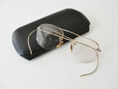 Vintage Eyeglasses with Gold filled frames, Antique Eye glasses, Old fashioned spectacles with case.  from MunasTreasures on Etsy