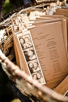 Wedding Program Kraft Paper - Not so much the photos, but the simple type font on the Kraft paper.