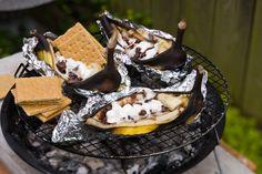 camping, campfir treat, eat right, relish pinathon, banana split
