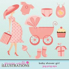 Girl Baby Shower Cute Digital Clipart for Card Design, Scrapbooking, and Web Design card designs, scrapbooking, web design, girl baby showers, shops, illustrations, cards, babi shower, girl babi