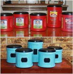 Upcycle old coffee containers into shatterproof plastic storage containers for the kids room or bathroom! Or for pet stuff. Paint fun colors and add a label decal (chalkboard style) for fun toy and craft or art / school supply organization