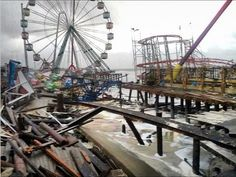 Funtown Pier at Seaside Park in New Jersey is decimated.