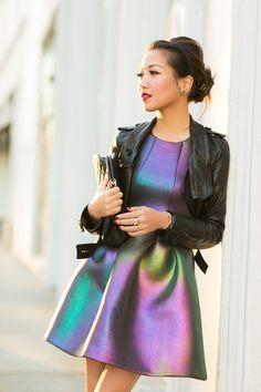 fashion, cynthia rowley, holiday glow, style, iridesc dress, dresses, the dress, wendi lookbook, leather jackets